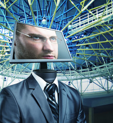 Businessman in cyberspace