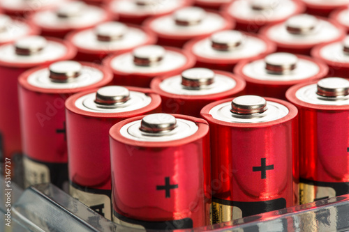 Leinwandbild Motiv Red AA batteries