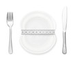 Plate with measurement, fork and knife isolated on white