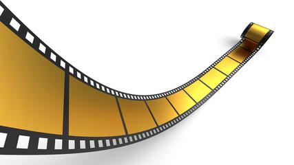 Goldene Filmrolle vor weissem Hintergrund 5