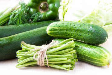 Assortment of fresh green vegetables for health - summer harvest
