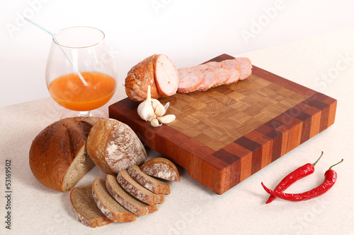 Ham sliceson a chopping board