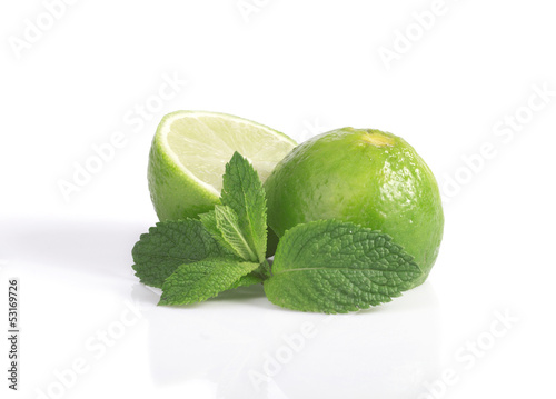 lime and a sprig of mint