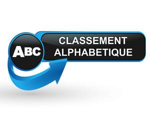 classement alphabétique sur bouton web design bleu
