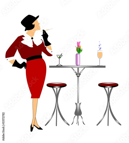 CLASSY LADY WAITING AT TABLE WITH DRINKS