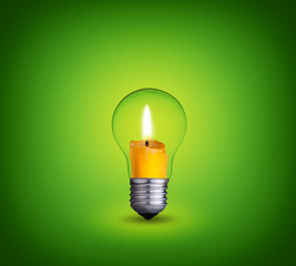 candle into lighting bulb on green background
