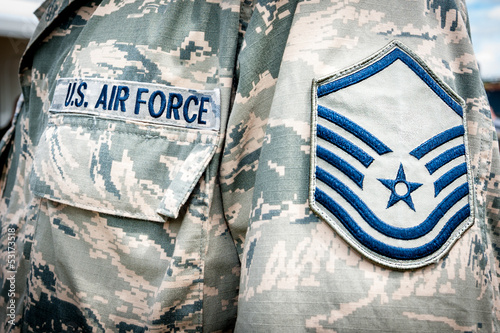 canvas print picture U.S. army air force emblem and rank on soldier uniform