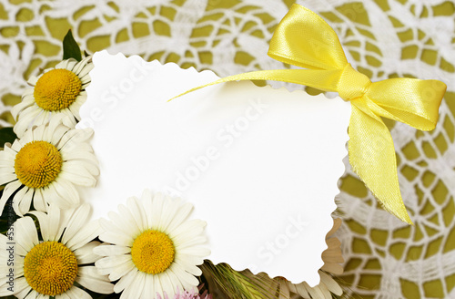 Bouquet of daisies  with a card