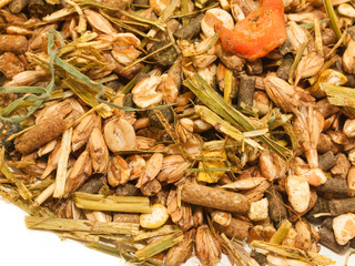 basic muesli  with herbs background for horse . close up