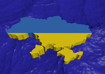 Ukraine map flag in abstract ocean illustration