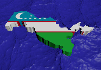 Uzbekistan map flag in abstract ocean illustration