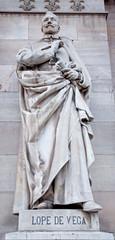 Madrid - Nebrija statue from Portal of Archaeological Museum