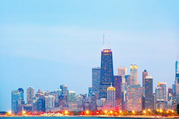 City of Chicago USA, sunset colorful panorama skyline