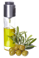 bottle of olive oil, olives and olive's leaves