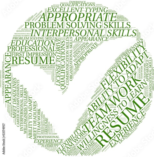 Word cloud with resume terms