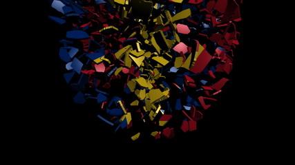 Romania flag sphere converging animation