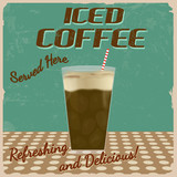 Iced coffee vintage poster