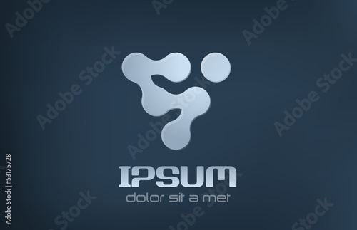 Technology Abstract Logo. Science Molecular electronic sign.
