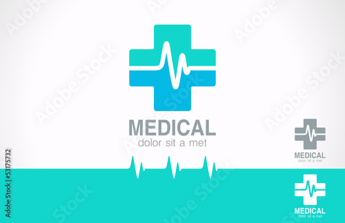 Medicine cross logo. Pharmacy logotype. Cardiogram concept.