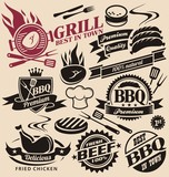 Collection of vector grill signs, symbols, labels and icons.