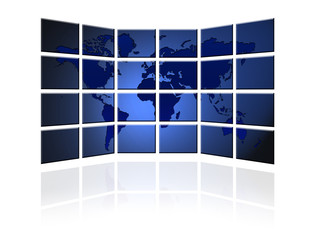 Flat TV screen with world map