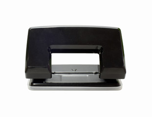 Black office hole punch on a white