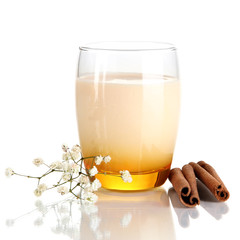 Delicious yogurt in glass with cinnamon isolated on white