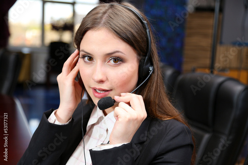 Call center operator at work.