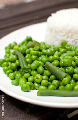 Green peas and beans salad with rice