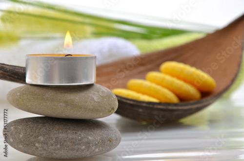 Wellness Grün Kerze Seife Wollgraszweig Handtücher