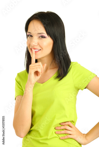 Girl shows sign of silence isolated on white