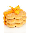 Sweet cookies tied with orange ribbon isolated on white