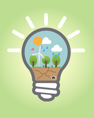 Bulb light With Save Nature vector