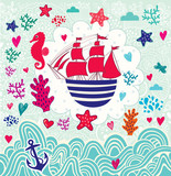 Vector cartoon marine illustration with sail ship