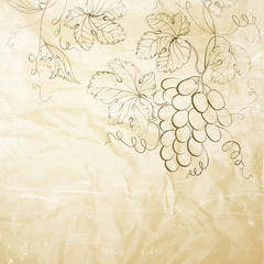 Brown wrinkled paper with grapes.