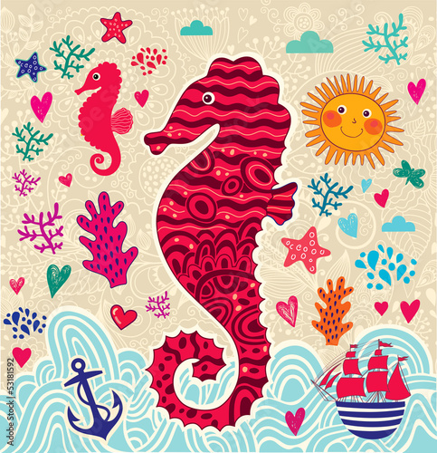 Vector cartoon marine illustration with seahorse
