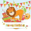 Happy Birthday card with cute little lion.