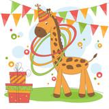 Colorful illustration of cute little giraffe.