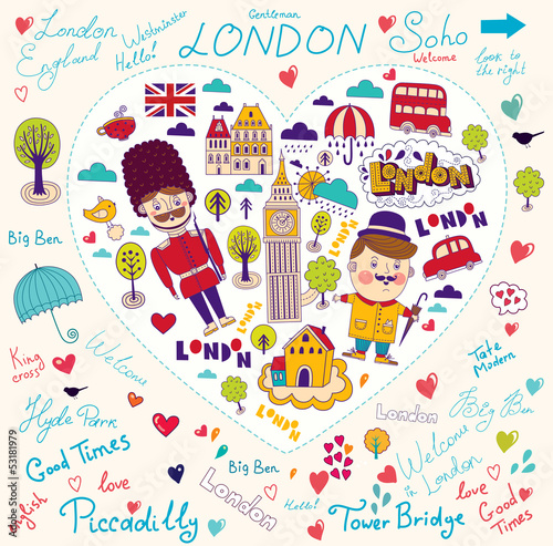 Vector card with London symbols and landmarks