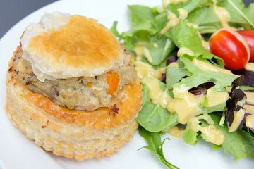 Chicken Pot Pie with Salad Closeup
