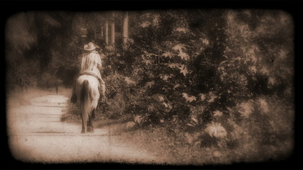 Vintage Film of a person riding a horse