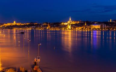 Flooded embankment in Budapest, Hungary