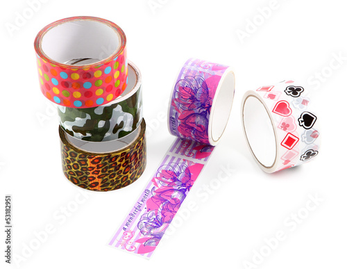 Packing tape with print. Masking tape for gift wrapping. A set