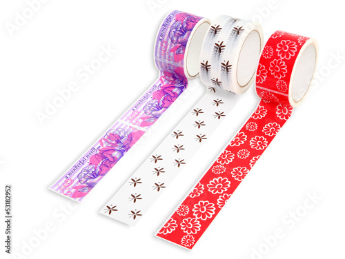 Packing tape with print. Masking tape for gift wrapping. Packing