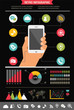 mobile phone with icons - infographic and website background