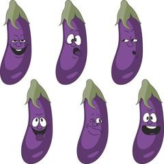 Emotion cartoon eggplant vegetables set 018
