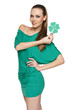 Woman wearing green dress showing green shamrock leaf
