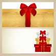 Gift certificate / Voucher / Coupon template. Bow, boxes