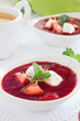 Dessert. Strawberry soup with cream.