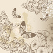 Elegant vintage design with ornate swirl ornament, butterflies a